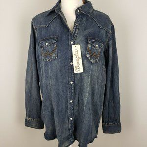 Wrangler Long Sleeve Western Snap Denim Shirt